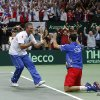 Czech Republic\'s Radek Stepanek, right, celebrates with team\'s captain Jaroslav Navratil, left, after defeating Spain\'s Nicolas Almagro in their Davis Cup finals tennis singles match in Prague, Czech Republic, Sunday, Nov. 18, 2012. Czech Republic defeated Spain 3-2 and gained the Davis Cup trophy. (AP Photo/Petr David Josek)