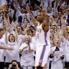 The crowd reacts behind Oklahoma City\'s Kevin Durant during Game 6 of the Western Conference Finals between the Oklahoma City Thunder and the San Antonio Spurs in the NBA playoffs at the Chesapeake Energy Arena in Oklahoma City, Wednesday, June 6, 2012. Oklahoma City won 107-99. Photo by Bryan Terry, The Oklahoman