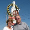 BOWLING ALLEY / 50 / 50TH ANNIVERSARY / PEGGY HAYNES: Jim Haynes, owners of the 66 Bowl, and his wife Peggy stand in front of the sign for their business, at 3810 NW Expressway in Oklahoma City, OK, which is celebrating it\'s 50th anniversary, August 26, 2009. BY ROBERT MEDLEY/THE OKLAHOMAN