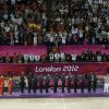 Team United States, middle, displays the gold medal, team Spain, at left, displays the silver medal and team Russia displays the bronze medal for men\'s basketball during a ceremony at the 2012 Summer Olympics, Sunday, Aug. 12, 2012, in London.(AP Photo/Victor Caivano)