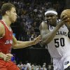 Memphis Grizzlies\' Zach Randolph (50) charges past Los Angeles Clippers\' Blake Griffin (32) during the second half of Game 3 in a first-round NBA basketball playoff series in Memphis, Tenn., Thursday, April 25, 2013. The Grizzlies defeated the Clippers 94-82. Randolph scored 27 points in the game(AP Photo/Danny Johnston)