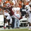 OU\'s Justin Brown (19) has a pass go off his finger tips in front of UT\'s Quandre Diggs (6) during the Red River Rivalry college football game between the University of Oklahoma (OU) and the University of Texas (UT) at the Cotton Bowl in Dallas, Saturday, Oct. 13, 2012. Photo by Chris Landsberger, The Oklahoman
