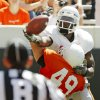 OSU\'s Justin Blackmon (81) misses a touchdown catch as Colby Ellis (49) defends during the Orange/White spring football game for the Oklahoma State University Cowboys at Boone Pickens Stadium in Stillwater, Okla., Saturday, April 16, 2011. Photo by Nate Billings, The Oklahoman