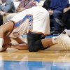Oklahoma City\'s Russell Westbrook lays on the court after being injured during the NBA game between the Oklahoma City Thunder and the Washington Wizards at the Chesapeake Energy Arena, Sunday, Nov. 10, 2013. Photo by Sarah Phipps, The Oklahoman