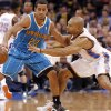 Oklahoma City Thunder\'s Derek Fisher (6) defends on New Orleans Hornets\' Brian Roberts (22) during the NBA basketball game between the Oklahoma City Thunder and the New Orleans Hornets at the Chesapeake Energy Arena on Wednesday, Feb. 27, 2013, in Oklahoma City, Okla. Photo by Chris Landsberger, The Oklahoman