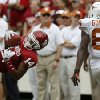 OU\'s Aaron Colvin (14) intercepts pass intended for UT\'s Marquise Goodwin (84) during the Red River Rivalry college football game between the University of Oklahoma (OU) and the University of Texas (UT) at the Cotton Bowl in Dallas, Saturday, Oct. 13, 2012. Photo by Bryan Terry, The Oklahoman