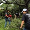 From left, the Keith family, Jordan, Alex, Josh and Connie clean a lot damaged by Wednesday\'s tornado in Cleburne, Texas on Thursday, May 16, 2013. Ten tornadoes touched down in several small communities in Texas overnight, leaving at least six people dead, dozens injured and hundreds homeless. Emergency responders were still searching for missing people Thursday afternoon. (AP Photo/Ron Russek II)