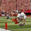 Seth Newton of OSU dives for a touchdown during the college football game between Oklahoma State University (OSU) and the University of Nebraska at Memorial Stadium in Lincoln, Neb., on Saturday, Oct. 13, 2007. By Bryan Terry, The Oklahoman ORG XMIT: KOD