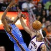 Oklahoma City Thunder forward Kevin Durant (35) has the ball knocked loose by Phoenix Suns forward Jared Dudley during the second half of an NBA basketball game, Wednesday, April 18, 2012, in Phoenix. (AP Photo/Matt York) ORG XMIT: PNU109