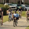 Bicycle riders arrive for a