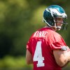 Philadelphia Eagles quarterback G.J. Kinne, a former Tulsa standout, runs through drills during NFL football training camp Friday, July 26, 2013, in Philadelphia. (AP Photo/The News-Journal, Suchat Pederson)