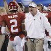 Mike Stoops yells at Oklahoma\'s Julian Wilson (2) during the college football Cotton Bowl game between the University of Oklahoma Sooners (OU) and Texas A&M University Aggies (TXAM) at Cowboy\'s Stadium on Friday Jan. 4, 2013, in Arlington, Tx. Photo by Chris Landsberger, The Oklahoman
