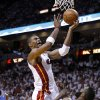 Miami\'s Chris Bosh (1) is fouled by Oklahoma City\'s James Harden (13) during Game 5 of the NBA Finals between the Oklahoma City Thunder and the Miami Heat at American Airlines Arena, Thursday, June 21, 2012. Photo by Bryan Terry, The Oklahoman