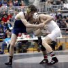 Southmoore\'s Zac Damico wrestles Yukon\'s Boo Lewallen in the 113-pound class during the 6A West regional of state wrestling at Edmond Santa Fe High School in Edmond, Okla., Saturday, Feb. 18, 2012. Photo by Sarah Phipps, The Oklahoman