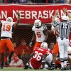 CELEBRATE, CELEBRATION: OSU\'s Jeremy Nethon (19) celebrates a stop of Nebraska\'s Quentin Castille, not pictured, on fourth down in the second quarter during the college football game between Oklahoma State University (OSU) and the University of Nebraska (NU) at Memorial Stadium in Lincoln, Neb., Saturday, October 13, 2007. By Nate Billings, The Oklahoman ORG XMIT: KOD