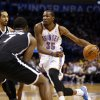 Thunder\'s Kevin Durant (35) drives to the basket in the second half of an NBA basketball game where the Oklahoma City Thunder were defeated 95-93 by the Brooklyn Nets at the Chesapeake Energy Arena in Oklahoma City, on Thursday, Jan. 2, 2014. Photo by Steve Sisney, The Oklahoman
