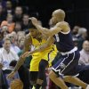 Indiana Pacers\' Paul George, left, and Oklahoma City Thunder\'s Derek Fisher (6) go for a loose ball during the first half of an NBA basketball game on Friday, April 5, 2013, in Indianapolis. (AP Photo/Darron Cummings)