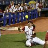 Alabama\'s Peyton Grantham (3) dives for a foul ball in the seventh inning of a Women\'s College World Series game between the University of Oklahoma and Alabama at ASA Hall of Fame Stadium in Oklahoma City Thursday, May 29, 2014. Photo by Bryan Terry, The Oklahoman