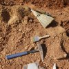 Fossil preparation and digging tools laying next to pit C as archaeologists and paleontologists dig fossilized bones on an Apache Corp. drilling site at the Packsaddle Wildlife Management Area in Ellis County south of Arnett Thursday, Aug. 22, 2013. Teeth and bone fossils found at the site included those from prehistoric camels and horses. Photo by Paul B. Southerland, The Oklahoman PAUL B. SOUTHERLAND - PAUL B. SOUTHERLAND