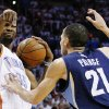 Oklahoma City Thunder forward Kevin Durant (35) signals as Memphis Grizzlies forward Tayshaun Prince (21) defends during the first half of Game 5 of a Western Conference semifinal in the NBA basketball playoffs, in Oklahoma City, Wednesday, May 15, 2013. (AP Photo/Alonzo Adams)