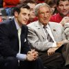 Photo - Former Oklahoma State University head coach Eddie Sutton, right, talks with ESPN broadcaster and former OSU basketball player Doug Gottlieb in the first half during the Pete Maravich men's college basketball game of the Ramada All-College Classic between the University of Oklahoma Sooners and the University of Houston Cougars at the Chesapeake Energy Arena in Oklahoma City, Saturday, Dec. 17, 2011. Photo by Nate Billings, The Oklahoman
