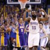 Oklahoma City\'s James Harden (13) celebrates after a three-point basket during Game 2 in the second round of the NBA playoffs between the Oklahoma City Thunder and L.A. Lakers at Chesapeake Energy Arena in Oklahoma City, Wednesday, May 16, 2012. Oklahoma City won 77-75. Photo by Bryan Terry, The Oklahoman