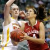 Oklahoma\'s Nicole Griffin (4) tries to get past Iowa State\'s Anna Prins (55) during the Big 12 tournament women\'s college basketball game between the University of Oklahoma and Iowa State University at American Airlines Arena in Dallas, Sunday, March 10, 2012. Oklahoma lost 79-60. Photo by Bryan Terry, The Oklahoman