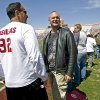 Former OU players Brian Bosworth, right, and Tony Casillas watch during Oklahoma\'s Red-White football game at The Gaylord Family - Oklahoma Memorial Stadiumin Norman, Okla., Saturday, April 11, 2009. Photo by Bryan Terry, The Oklahoman