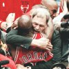 Then-Chicago Bulls coach Phil Jackson and Michael Jordan embrace after the Bulls won their sixth NBA championship on June 14, 1998. Jackson has won nine NBA titles — six with Chicago and three with the Los Angeles Lakers. Ap photo