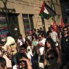 People march on the streets, as they shout anti Israeli slogans, during a protest against the Israeli airstrikes of the Gaza strip, in Pamplona, Northern Spain, Thursday, July 17, 2014. (AP Photo/Alvaro Barrientos)