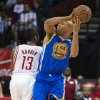 Golden State Warriors\' Richard Jefferson (44) loses control of the ball as Houston Rockets\' James Harden (13) defends during the third quarter of an NBA basketball game, Tuesday, Feb. 5, 2013, in Houston. The Rockets beat the Warriors 140-109. (AP Photo/Dave Einsel)