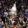 Oklahoma City Thunder fans watch Miami\'s LeBron James toss chalk into the air before their NBA basketball game at the OKC Arena in Oklahoma City on Thursday, Jan. 30, 2011. Photo by John Clanton, The Oklahoman
