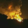 In this image taken from Associated Press video, flames rise from an explosion at the Blue Rhino propane plant in Tavares City, Fla., late Monday, July 29, 2013. John Herrell of the Lake County Sheriff\'s Office said early Tuesday that there were no fatalities despite massive blasts that ripped through the gas plant. Seven people were injured and transported to local hospitals. (AP Photo/AP video)