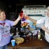 Helen Elston of Clever, Mo., and Lori Thompson of Leawood, Kan., toast during happy hour in Louisburg, Kansas on April 21, 2012. The sisters attended the Sisters on the Fly gathering, a national group of camping enthusiasts founded by two actual sisters who love fly-fishing in Montana. (Jill Toyoshiba/Kansas City Star/MCT)