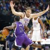 The Thunder\'s Nenad Krstic (12) defends on the Kings\' Eugene Jeter (5) during the NBA basketball game between the Oklahoma City Thunder and The Sacramento Kings on Tuesday, Feb. 15, 2011, Oklahoma City Okla. Photo by Chris Landsberger, The Oklahoman