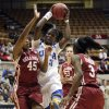 UCLA\'s Markel Walker, center, drives between Oklahoma\'s Jasmine Hartman, left, and Aaryn Ellenberg during the first half of a second-round game in the women\'s NCAA college basketball tournament, Monday, March 25, 2013, in Columbus, Ohio. (AP Photo/Jay LaPrete) ORG XMIT: OHJL103