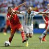 Photo - Argentina's Javier Mascherano right, fights for the ball with Belgium's Eden Hazard during the World Cup quarterfinal soccer match between Argentina and Belgium at the Estadio Nacional in Brasilia, Brazil, Saturday, July 5, 2014. (AP Photo/Eraldo Peres)