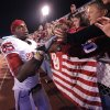 Oklahoma\'s Ryan Broyles (85) greets fans as he walks off the field after the 47-17 win over Kansas during the college football game between the University of Oklahoma Sooners (OU) and the University of Kansas Jayhawks (KU) on Sunday, Oct. 16, 2011. in Lawrence, Kan. Photo by Chris Landsberger, The Oklahoman
