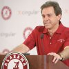 Photo - ** FILE ** University of Alabama college football head coach Nick Saban speaks during a news conference  in Tuscaloosa, Ala.,   March 22, 2007.  (AP Photo/ The Tuscaloosa News, Dan Lopez, File) ORG XMIT: ALTUS101