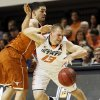 Oklahoma State\'s Phil Forte (13) is fouled by Texas\' Javan Felix (3) during a men\'s college basketball game between Oklahoma State University and the University of Texas at Gallagher-Iba Arena in Stillwater, Okla., Saturday, March 2, 2013. OSU won, 78-65. Photo by Nate Billings, The Oklahoman