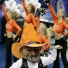 OSU COLLEGE BASKETBALL, MASCOT, MASCOTS: Oklahoma State University\'s Pistol Pete leads fans in