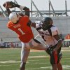 Oklahoma State\'s Dez Bryant (1) pulls in a touchdown pass over Texas Tech\'s Marcus Bunton (1) during the first half of the college football game between the Oklahoma State University Cowboys (OSU) and the Texas Tech University Red Raiders (TTU) at Boone Pickens Stadium in Stilllwater, Okla., on Saturday, Sept. 22, 2007. By NATE BILLINGS, The Oklahoman