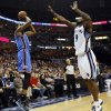 Oklahoma City\'s Kevin Durant (35) shoots a 3-point shot against Memphis\' Tony Allen (9) in the first half during Game 4 of the second-round NBA basketball playoff series between the Oklahoma City Thunder and the Memphis Grizzlies at FedExForum in Memphis, Tenn., Monday, May 13, 2013. Photo by Nate Billings, The Oklahoman
