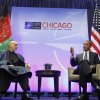 President Barack Obama, right, during his meeting with Afghan President Hamid Karzai, left, at the NATO Summit in Chicago, Sunday, May 20, 2012. Obama said the NATO alliance agrees on a vision for post-2014 Afghanistan. Karzai said the transition in his country will mean that Afghanistan is