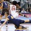 Oklahoma\'s Sharane Campbell (24) falls on West Virginia\'s Brooke Hampton (4) during the Big 12 tournament women\'s college basketball game between the University of Oklahoma and West Virginia at American Airlines Arena in Dallas, Saturday, March 9, 2012. Photo by Bryan Terry, The Oklahoman