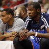 Oklahoma City\'s Kevin Durant (35) sits on the bench during Game 6 of the Western Conference semifinals in the NBA playoffs between the Oklahoma City Thunder and the Los Angeles Clippers at the Staples Center in Los Angeles, Thursday, May 15, 2014. Photo by Nate Billings, The Oklahoman