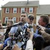 Photo - Ruslan Tsarni, the uncle of the Boston Marathon bombing suspect, speaks with the media outside his home in Montgomery Village in Md. Friday, April, 19, 2013. Tsarni urged his nephew to turn himself in.  (AP Photo/Jose Luis Magana)