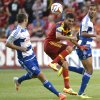 Photo - Real Salt Lake midfielder Javier Morales, center, stops the ball during an MLS soccer game against FC Dallas, Saturday, May 24, 2014, in Sandy, Utah. (AP Photo/The Salt Lake Tribune, Rick Egan) LOCAL TV OUT; MAGAZINES OUT; DESERET NEWS OUT