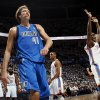Dallas\' Dirk Nowitzki (41) reacts after making a shot and being fouled by Oklahoma City\'s Serge Ibaka (9), right, during Game 2 of the first round in the NBA basketball playoffs between the Oklahoma City Thunder and the Dallas Mavericks at Chesapeake Energy Arena in Oklahoma City, Monday, April 30, 2012. From left in the background are Kevin Durant (35), James Harden (13) and Russell Westbrook (0). Photo by Nate Billings, The Oklahoman