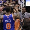 New York Knicks\' Amare Stoudemire celebrates with J.R. Smith after Smith hit the game-winning shot against the Phoenix Suns after an NBA basketball game, Wednesday, Dec. 26, 2012, in Phoenix. The Knicks won 99-97. (AP Photo/Matt York)